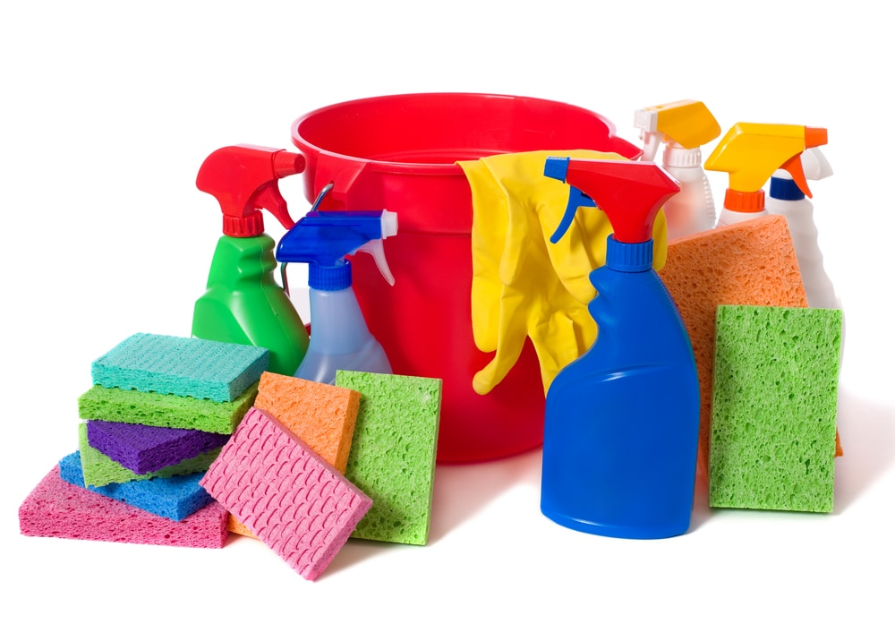 A collection of janitorial supplies