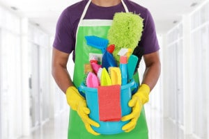 Man holding cleaning equipment