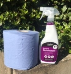 Example of the two products in the pack which will help make it safe to go back to work.
