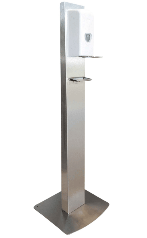 Image of an automatic stainless steel, floor-standing refillable hand sanitiser dispenser