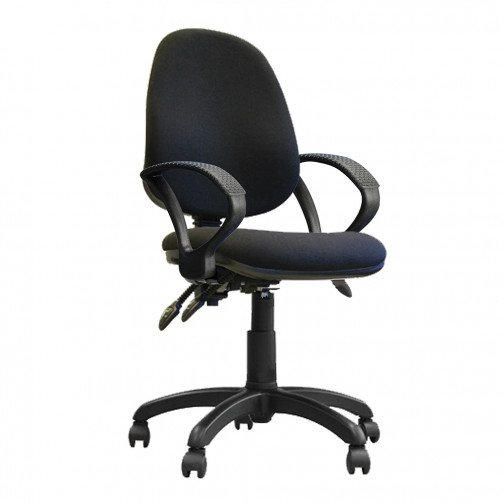 Nile 300 A Black - High Back Synchronised Operator Chair With Arms  Black