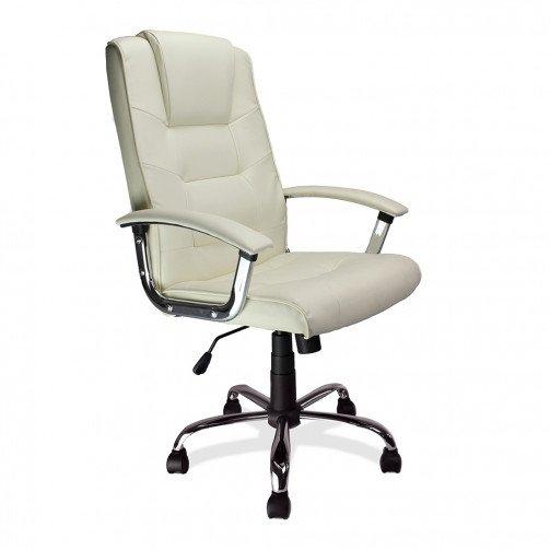 Congo Cream - High Back Leather Faced Executive Armchair With Chrome Base  Cream