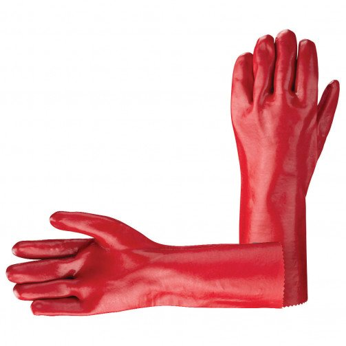 "Red PVC Gauntlet Gloves 11""/14""/16""/18"""