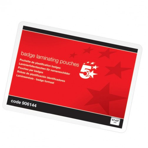 5 Star Lam/Pouch Badge67X98 250MIC Pk100