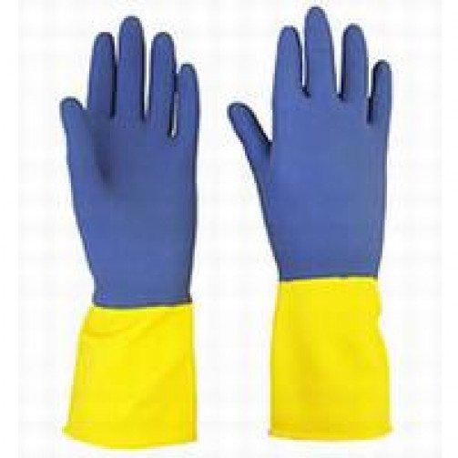 Bi-Colour Heavy Weight Rubber Gloves x 10