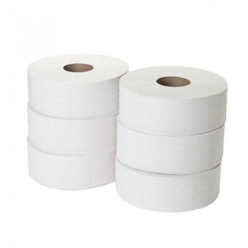2 Ply Jumbo White Recycled Toilet Roll x6