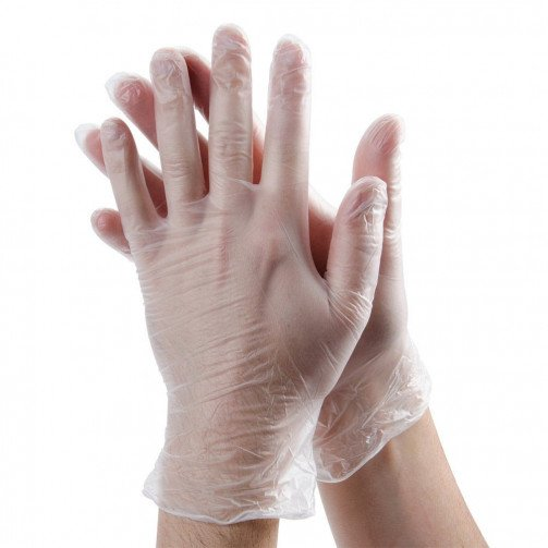 Clear Vinyl Disposable Powdered Gloves