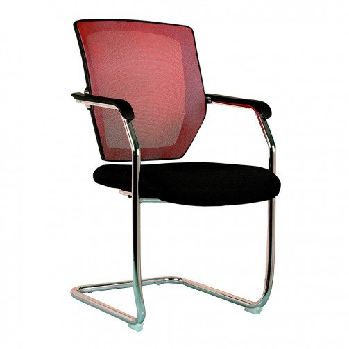 Columbia Red - Medium Back Mesh Cantilever Chair  Red