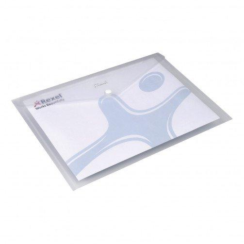 Rexel Ice A4 Popper Wallet Trans Clear