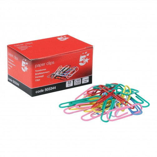 5 Star Paper Clips Lge Clrd Bxd100 Pk10