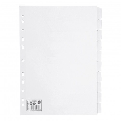 5 Star A4 10-Part Subject Dividers Wht