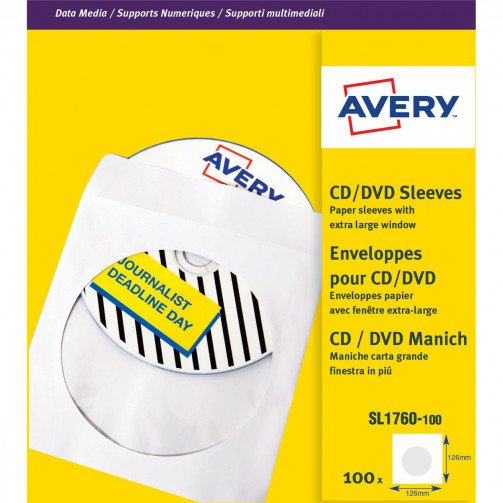 Avery Paper Sleeves CD Wht SL1760-100