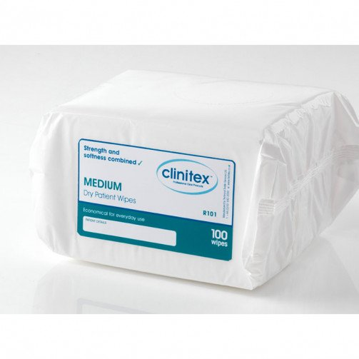 Clinitex Medium Dry Patient Wipes 20PKS x100
