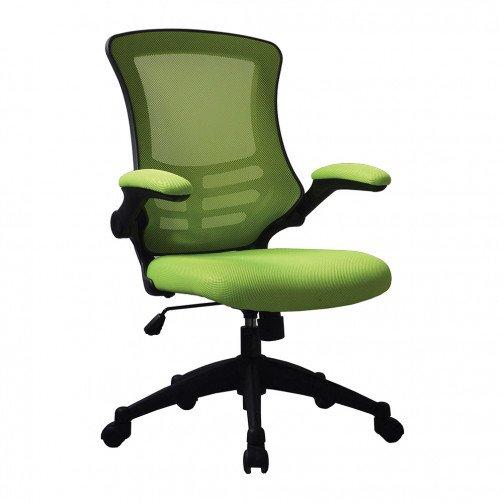 Yukon Green - Medium Back Mesh Chair with Folding Arms Green