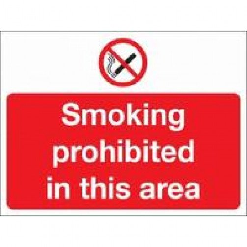 "Self Adhesive Safety Sign ""Smoking prohibited..."""