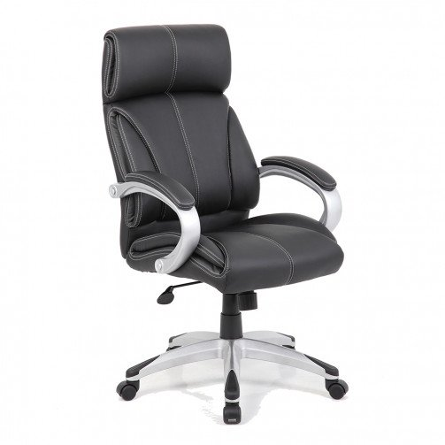 Tigris Black - Leather Faced Managers Chair Black
