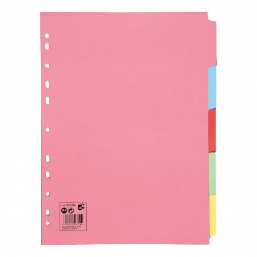 5 Star A4 5-Part Subject Dividers