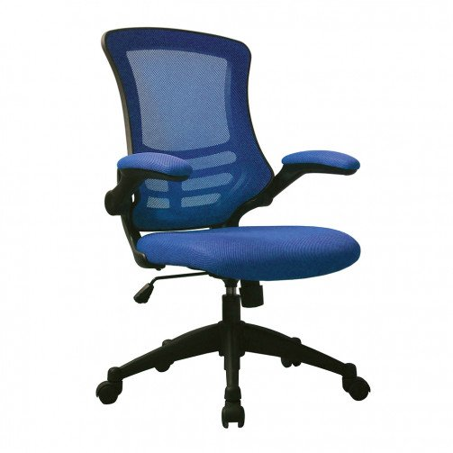 Yukon Blue - Medium Back Mesh Chair with Folding Arms Blue