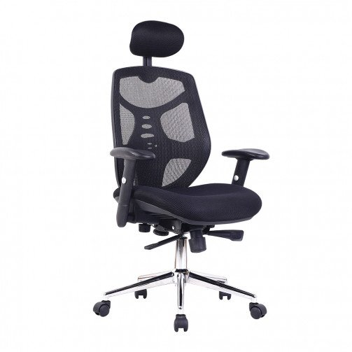 Paraguay Black - High Back Mesh Executive Armchair With Headrest And Chrome Base  Black