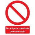"Self Adhesive Safety Sign ""Do Not Pour Chemicals.."