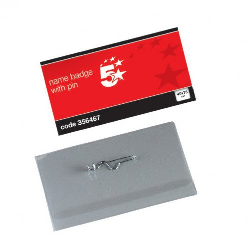 5 Star Name Badge with pin 40X75mm Pk100
