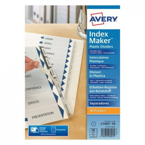 Avery IndexMaker Clear 10 Part 05113081