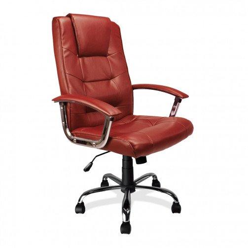 Congo Burgundy - High Back Leather Faced Executive Armchair With Chrome Base  Burgundy