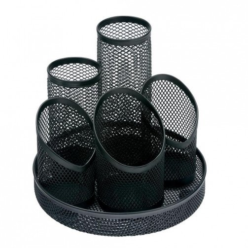 5 Star Office Wire Mesh 5Tube PenPot Blk