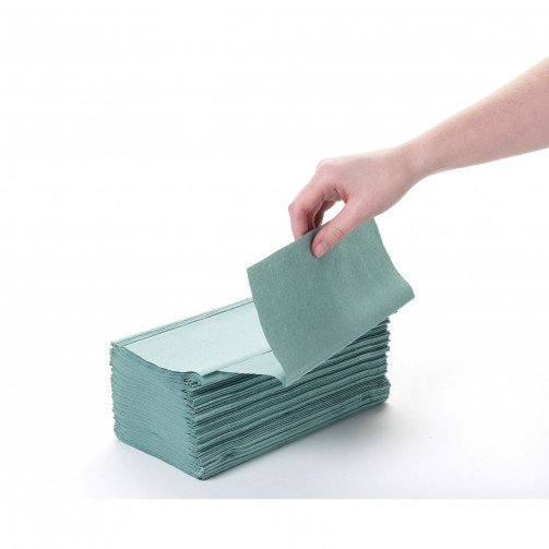 Interfold Hand Towels 1ply Green x 4000 x 48 Cases