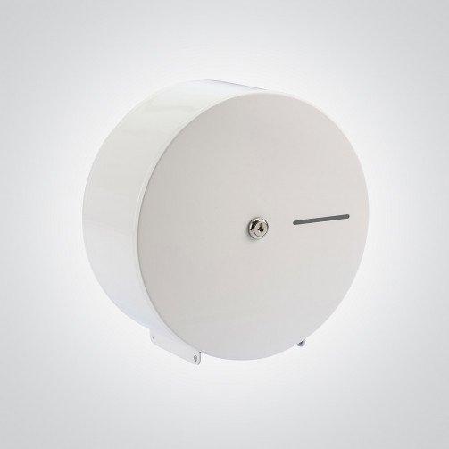 White Steel Mini Jumbo Toilet Roll Dispenser