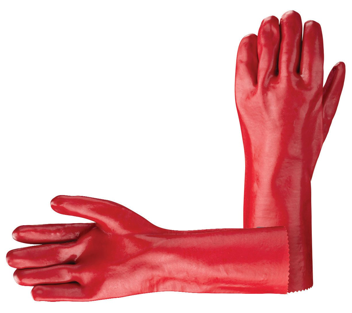 Red Pvc Gauntlet Gloves 11 14 16 18 Janitorial Direct Ltd