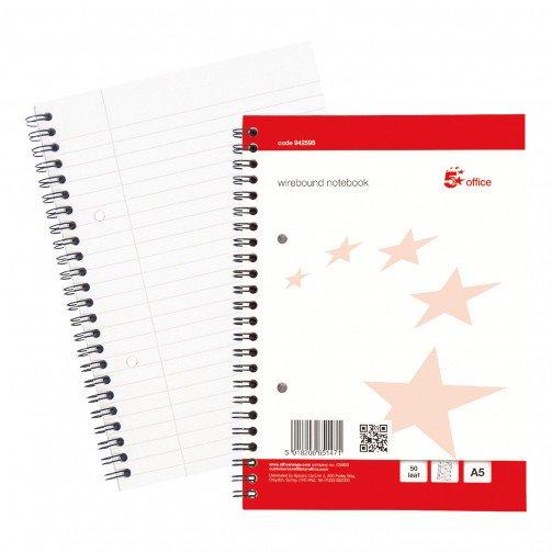 5 Star Wirebound Notebk A5Pls Ruled 50Lf