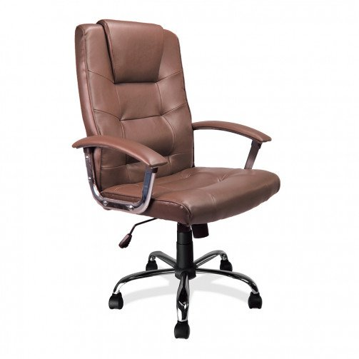 Congo Brown - High Back Leather Faced Executive Armchair With Chrome Base  Brown