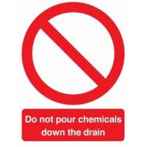 """Self Adhesive Safety Sign """"Do Not Pour Chemicals.."""
