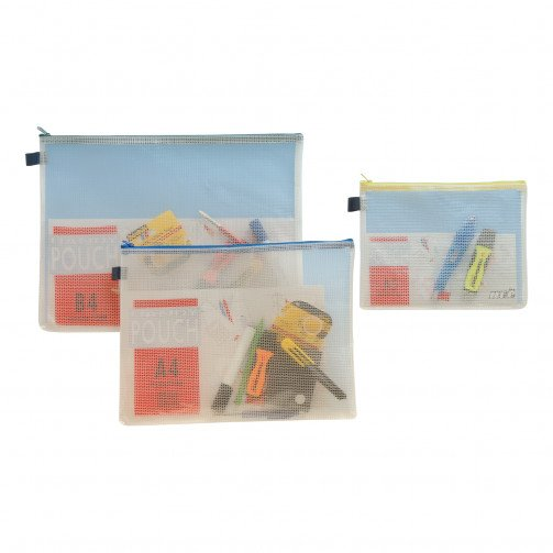 A4 Reinforced PVC Zip Bag (Blue Zip)