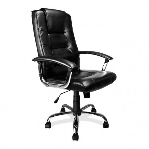 Congo Black - High Back Leather Faced Executive Armchair With Chrome Base  Black