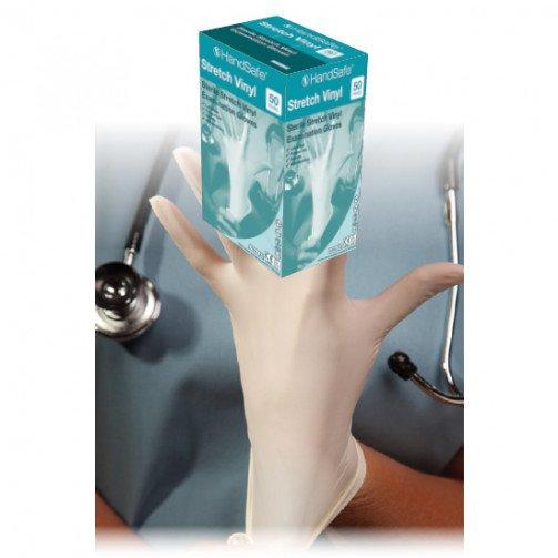 HandSafe Sterile Stretch Vinyl Examination Gloves Medium x 200 Pairs