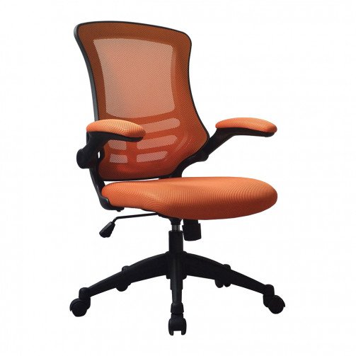 Yukon Orange - Medium Back Mesh Chair with Folding Arms Orange