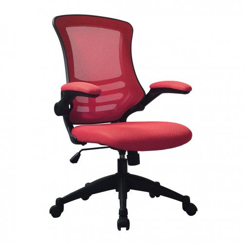 Yukon Red - Medium Back Mesh Chair with Folding Arms Red