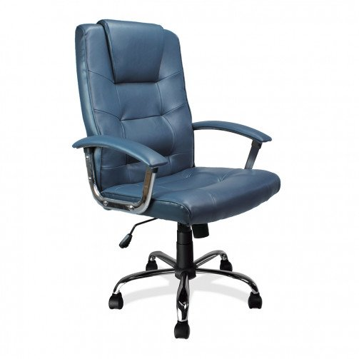 Congo Blue - High Back Leather Faced Executive Armchair With Chrome Base  Blue
