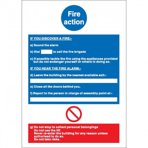 Fire Action Write On 210X297mm NS017SAV