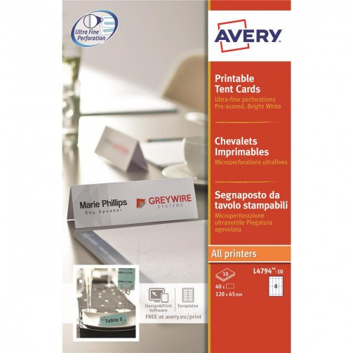 Avery FSC Prntble Tent Card 4TV L4794-10