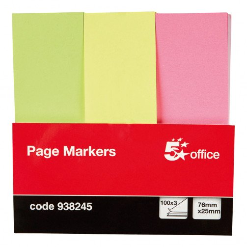 5 Star Neon Paper Markers 3 colours