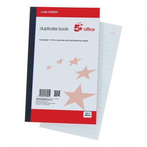 5 Star Duplicate Book 210x130mm