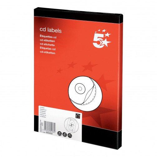 5 Star Office CD Labels 117mmDia Pk50