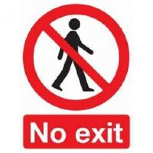 """Self Adhesive Safety Sign """"No exit"""""""