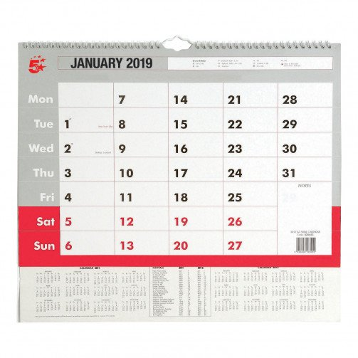 5 Star 2019 A3 Wall Calendar