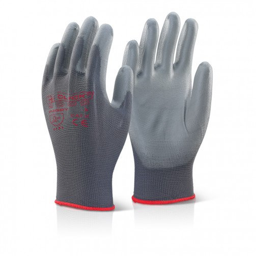 Grey PU Coated Gloves x10