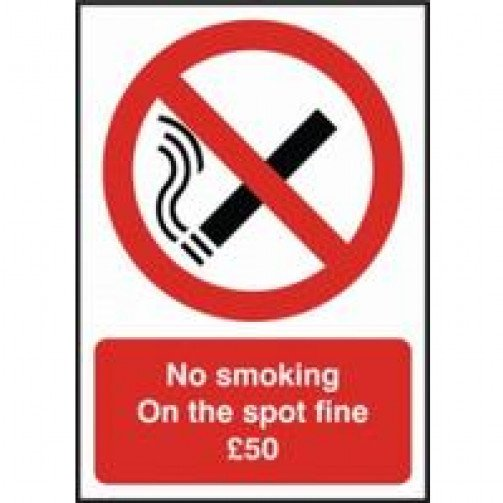 "No Smoking Sign Self Adhesive ""£50 Fine"""