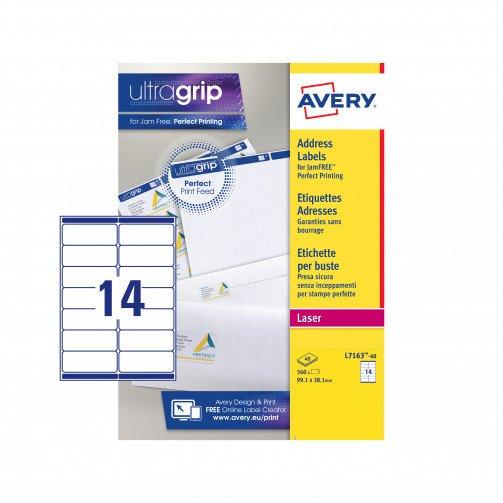 Avery FSC LaserLbl 99.1x38.1Wht L7163-40
